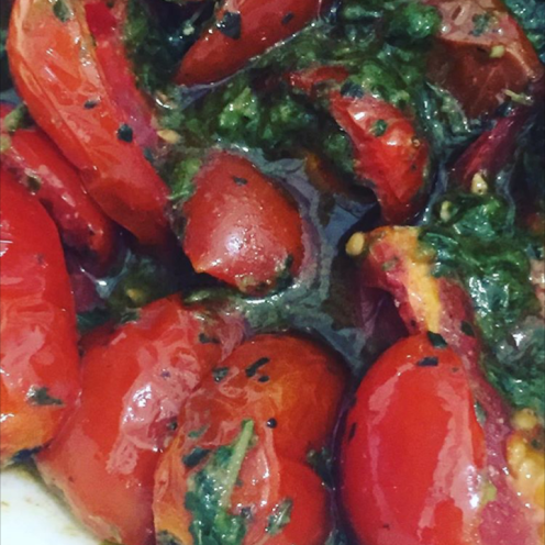tomatoes and pesto before blender action